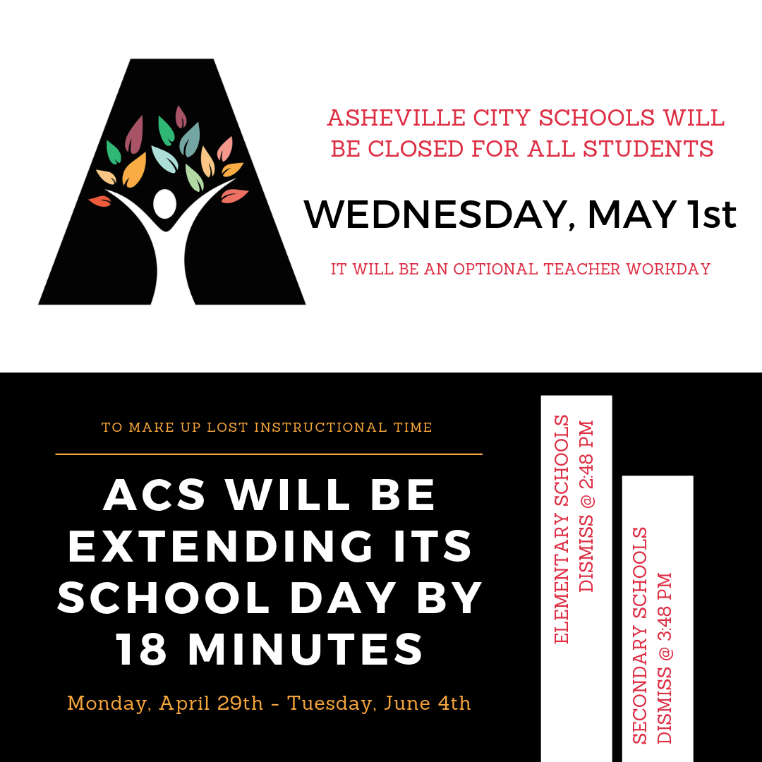 May 1st Will Be Optional Teacher Workday for Asheville City Schools